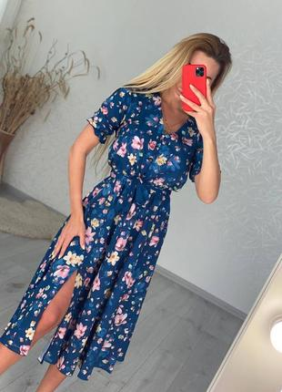 Женское платье, платье миди, платье в цветочек, нарядное платье