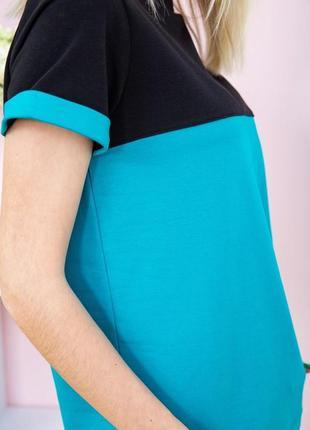Костюм женский двунитка футболка и штаны черно-бирюзовый