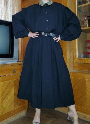 Шерстяное винтажное платье с ажурным воротником 100% шерсть