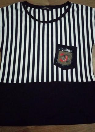 Шикарная футболка в полоску от chanel размер m/l