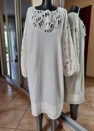 Шикарное 💯%котоновое с красивыми рукавами из прошвы платье 👗рубашка большого размера
