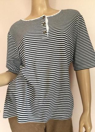 Хлопковая фирменная блузка в полоску/44/brend peter hahn