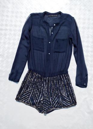 Синий ромпер полупрозрачный верх, шорты расшиты пайетками zara