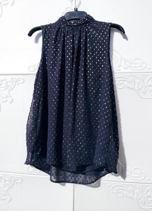 Тёмно синяя летняя блуза с золотыми пупырышками holly & white by lindex