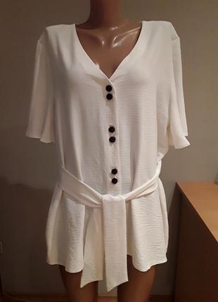 Раскошная белая  туника/ удлиненная блузка/ кардиган,батал