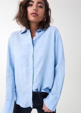 Gina tricot льняная рубашка сорочка натуральный лен льон 34
