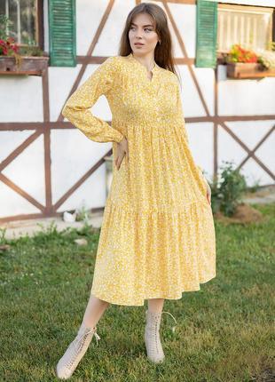 Свободное платье миди в стиле бохо 5 цветов, р. s, m, l