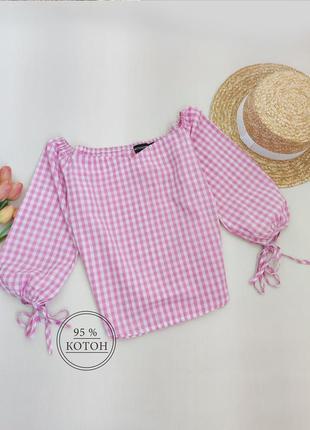 Дуже красива котонова блузка вільного крою з пишним рукавом prettylittlething розмір s