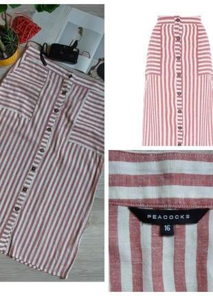 Peacocks стильная легкая юбка р 16 сток хлопок лен