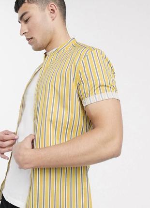 Желтая в полоску рубашка стойкой воротник тенниска гавайка шведка