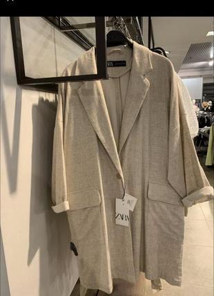 Zara пальто накидка кардиган кофта льняная