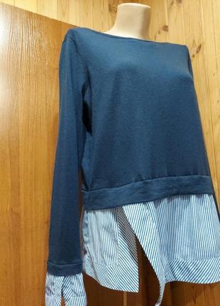 Оригинальный шерстяной джемпер свитер с имитацией рубашки