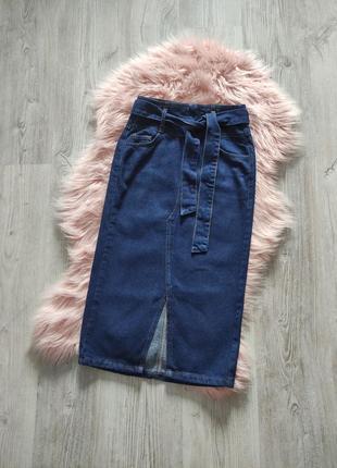 Джинсовая миди юбка карандаш деним джинс new look