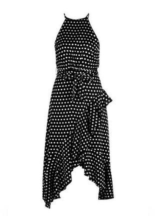 Черное элегантное сатиновое платье в горошек горох миди с рюшами воланами boohoo