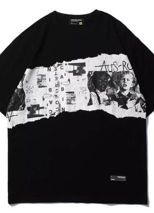 Чёрная футболка оверсайз хип хоп стиль хлопок унисекс принт белый газетный