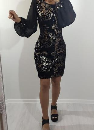 Новое шикарное нарядное вечернее платье пайетки золото бархат
