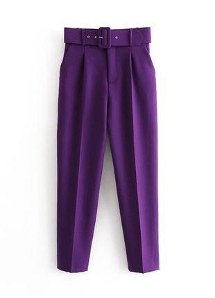 Брюки жіночі з широким ременем purple basic 58552