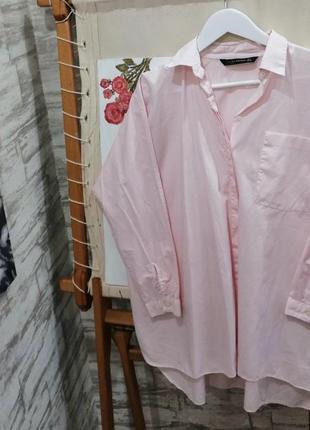 Рубашка оверсайз розовая zara