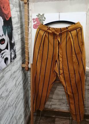 Горчичный брюки в полоску f&f