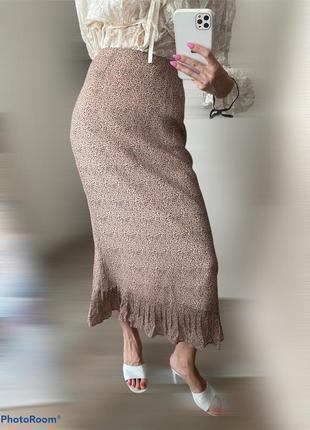 100% шёлк. юбка миди красивой расцветки minuet