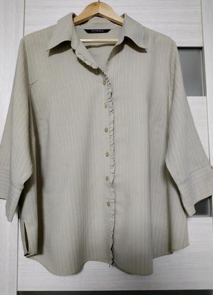 Блуза рубашка большой размер серо-бежевая вискоза essence