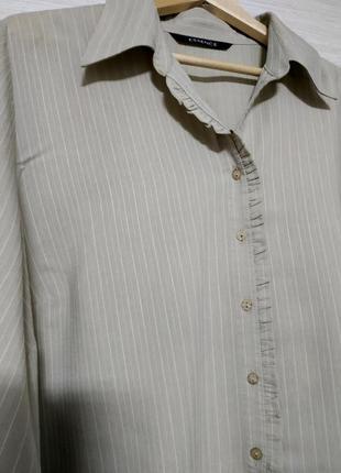 Блуза рубашка большой размер серо-бежевая вискоза essence2 фото