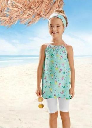 3 вещи туника капри повязка летний комплект на девочку