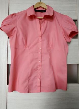 Блуза с коротким рукавом фонарик коралловая розовая e-vie