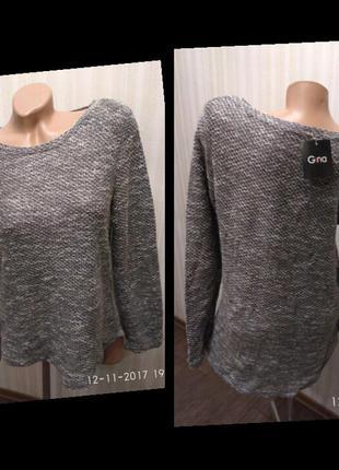 Меланжевая актуальная туника-свитерок
