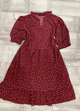 Платье в горох бордо миди