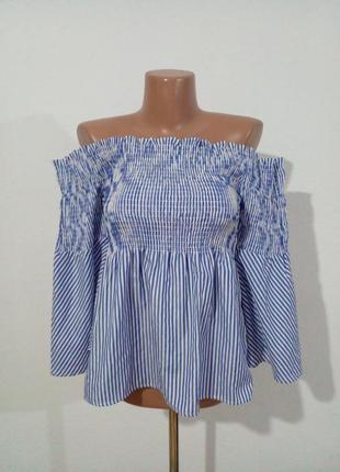 Блуза оголені плечі резиночки