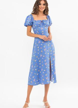 Голубое цветочное стильное хлопковое платье - отличного качества