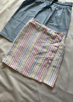 Льняная юбка в полоску