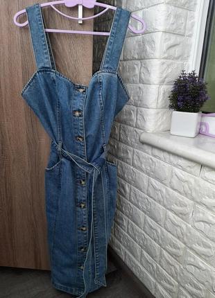 Шикарное джинсовое платье сарафан