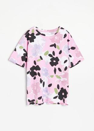 Хлопковая футболка оверсайз в цветы