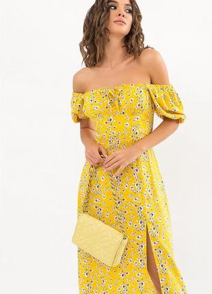 Желтое хлопковое платье в цветок-стильное, отличного качества