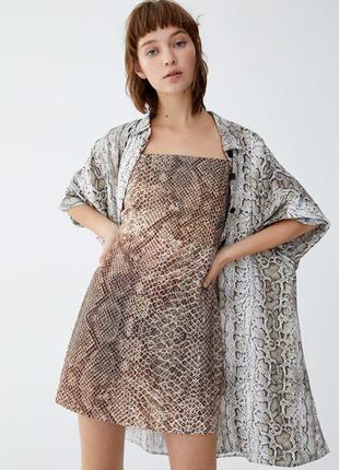 Платье сарафан в змеиный принт zara zara
