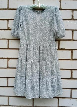 Воздушное шифоновое, ярусное платье
