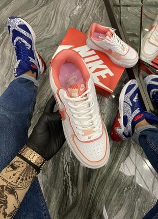 Кроссовки найк женские  обувь кеды форсы nike air force shadow orange2 фото