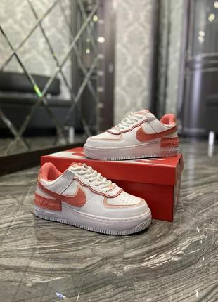Кроссовки найк женские  обувь кеды форсы nike air force shadow orange8 фото