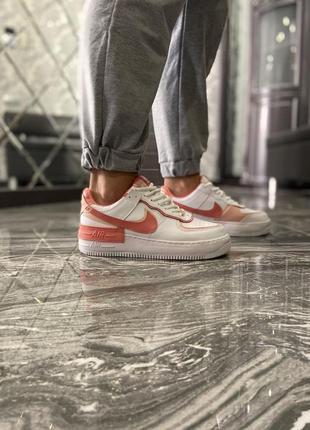 Кроссовки найк женские  обувь кеды форсы nike air force shadow orange4 фото