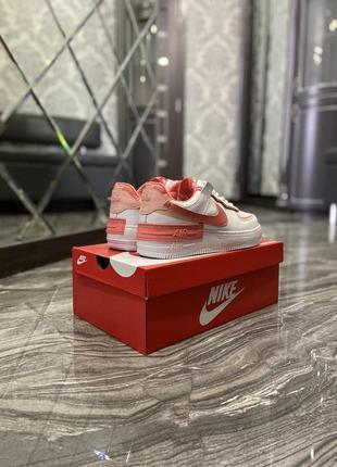 Кроссовки найк женские  обувь кеды форсы nike air force shadow orange5 фото