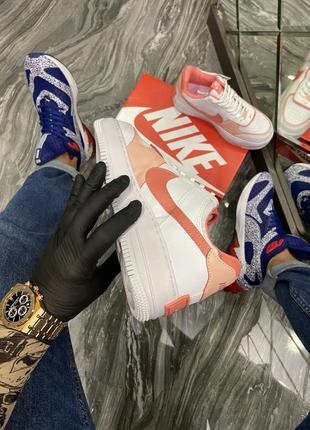 Кроссовки найк женские  обувь кеды форсы nike air force shadow orange6 фото