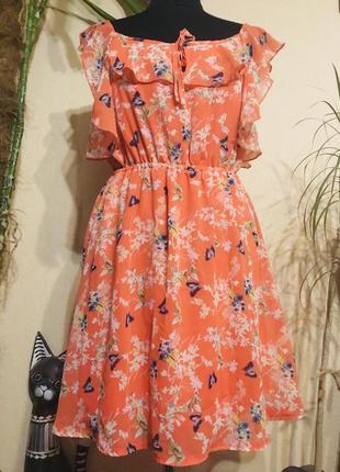 🌷милое🌷 шифоновое платье принт цветы бабочки