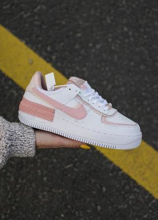 Nike air force shadow white orange кроссовки найк женские форсы аир форс кеды обувь взуття