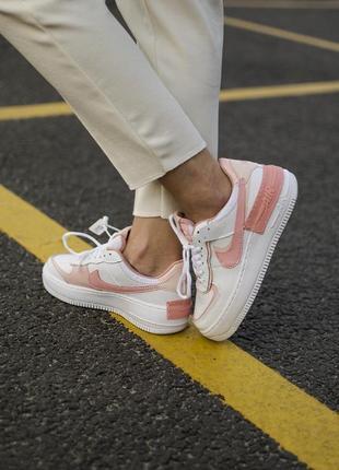 Nike air force shadow white orange кроссовки найк женские форсы аир форс кеды обувь взуття4 фото