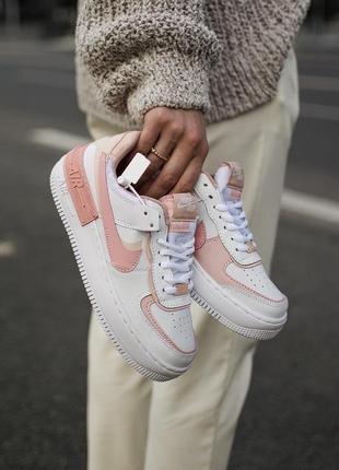 Nike air force shadow white orange кроссовки найк женские форсы аир форс кеды обувь взуття8 фото