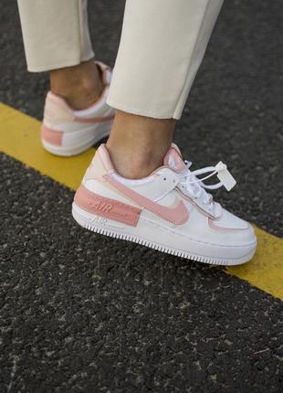 Nike air force shadow white orange кроссовки найк женские форсы аир форс кеды обувь взуття2 фото