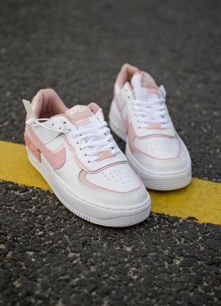 Nike air force shadow white orange кроссовки найк женские форсы аир форс кеды обувь взуття6 фото