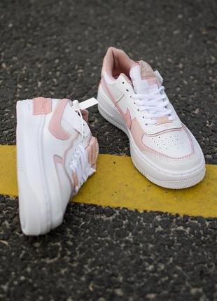 Nike air force shadow white orange кроссовки найк женские форсы аир форс кеды обувь взуття10 фото